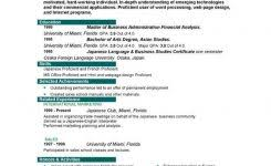 job resume interests examples with profile and education