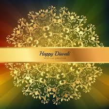 golden diwali greeting with floral ornaments vector free