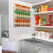placard cuisine mural 24pc chromé 3 étagère rangement pour épices pots pour mural ou