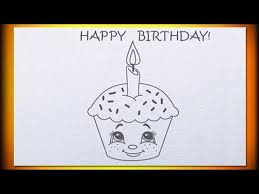 one year old how to draw birthday cupcake youtube