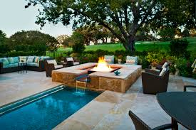 Faux Stone Patio by Exterior Design Modern Outdoor Gas Fire Pits With Faux Stone Wall