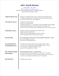 resume exles for objective section sle resume format for fresh graduates one page format