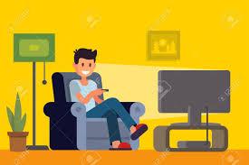 home interior vector tv on sofa in home interior vector illustration