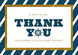 nautical thank you cards nautical baby shower thank you card templates by canva
