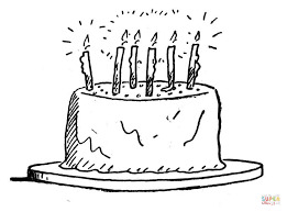 birthday cake with burning candles coloring page free printable