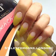 happy yellow french manicure false nails stiletto almond oval