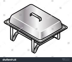 stainless steel buffet food warmerserving tray stock vector