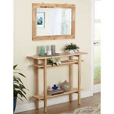 console table and mirror set console table mirror set unfinished rustic natural display shelf