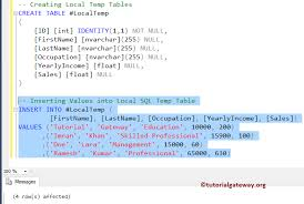 how to create temp table in sql temp table in sql server