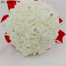 silk pe rose flower crystal wedding bouquet bridal bouquet