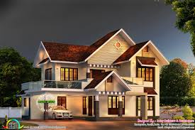 colonial type shingles slope roof home kerala home design