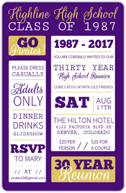 high school reunion invitations poster style purple and yellow class reunion invitation reunion