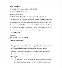 Database Administrator Resume Administration Resume Format Administration Cv Template Free