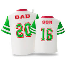 dad u0026 son red and green jerseys ornament keepsake ornaments