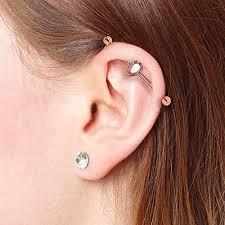 bar earring cartilage bodyj4you industrial bar earrings teardrop cz surgical steel 14g