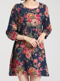 sweet scoop neck 3 4 sleeve floral print moo moo dress for