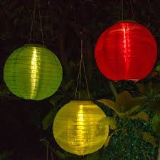 Battery Operated Patio Umbrella Lights by Amazon Com 3 Solar Hanging Nylon Lanterns Red Yellow And