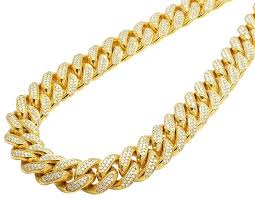 real diamond necklace images Jewelry unlimited 10k yellow gold miami cuban real diamond chain jpg