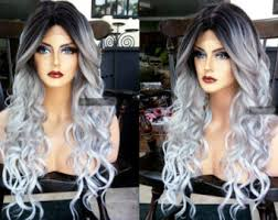 how to blend in gray roots of black hair with highlig gray wig etsy