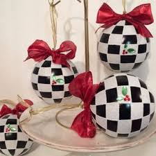 buy a custom painted black and white harlequin ornament