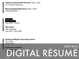 Digital Resume Digital Résumé Smit Rao By Smit Rao