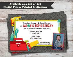 tool birthday party invitations handyman birthday party
