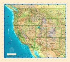 Image Of Usa Map by Western Usa Wall Map Usa And Us States Wall Maps Northamerica
