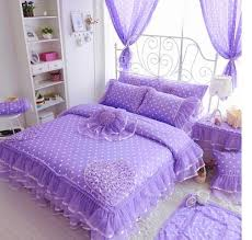 Purple Ruffle Comforter Aliexpress Com Buy White Ruffle Wedding Lace Cotton Bedding 4pcs