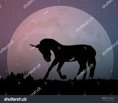 big moon night silhouette unicorn vector stock vector 684368698