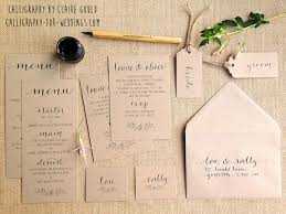 handwritten wedding invitations kraft and calligraphy wedding invitations from 2 by moon tide