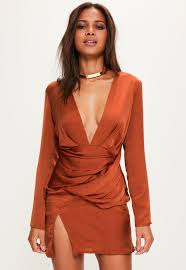 orange dress orange silky sleeve panelled dress missguided