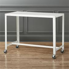 office table on wheels white home office furniture cb2