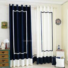 Navy Curtain Navy Blue And White Stitching Nautical Style Chenille Room