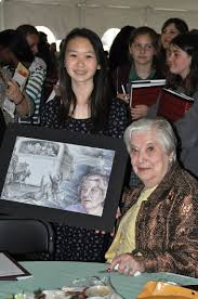 Generations of Rememberance   Chapman Magazine Chapman Blogs   Chapman University Eighth grader Hailey Shi shares her painting  called Never Again  with Holocaust survivor