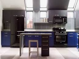 contemporary kitchen featured blue grey cabinets and black