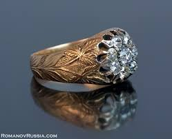 antique diamond rings art nouveau russian diamond cluster gold