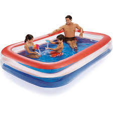 Inflatable Kids Pool Play Day Color Transparent Family Pool Red Walmart Com