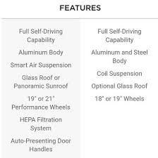 tesla model s 3 comparison sheet now with pricing information