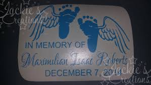 in loving memory of decal with baby and wings