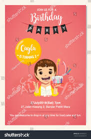 many stock birthday party invitation card vector creation kid birthday party celebration invitation card stock vector