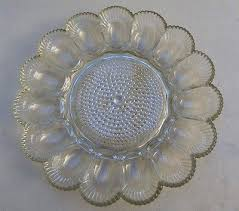devilled egg platter vintage clear glass deviled egg plate dish tray hob nail center 15