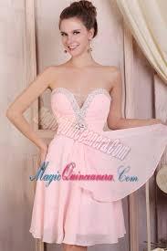 light pink dama dresses baby pink empire sweetheart short dama dresses with beading magic