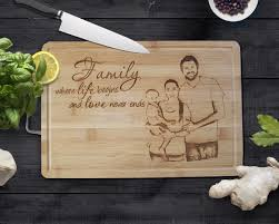 personalised cutting boards personalised cutting board with handle the laser company