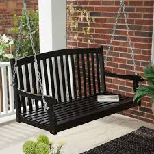 classic curved back slat wood ft porch swing in black weather pics