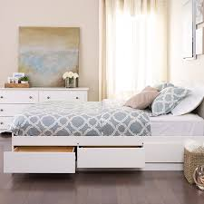 Platform Bed Designs With Drawers by Amazon Com White Queen Mate U0027s Platform Storage Bed With 6 Drawers