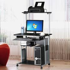 Laptop Desk With Printer Shelf Ktaxon Rolling Computer Desk Laptop Home Office Study Table