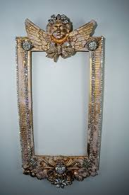 frame wall hanging ornate vintage shabby cottage chic pink w gold
