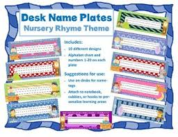 Desk Name Tags by Desk Plate Name Tags Nursery Rhyme Theme For Back To Tpt