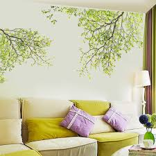 home decor 3d stickers green leaves tree branch wall stickers for kids room living room