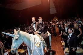 Gay Unicorn Meme - a gay jewish wedding where they rode in on a horse dressed as a